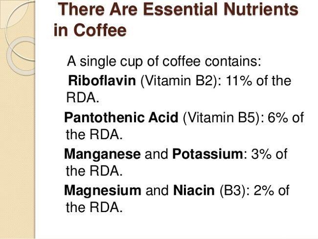 Essential nutrients in Coffee