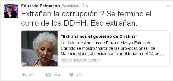 ¡LE DIO CON TODO! Feinmann Destrozó a Estela de Carlotto ¡VAYA VAYA!