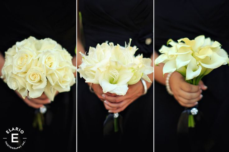 white bridesmaid bouquets, white roses, white callalily, white amaryllis. Love the idea of each bridesmaid having a different flower!