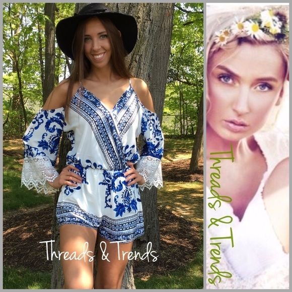 """Indigo Floral Cold Shoulder Romper Pastel Gorgeous colors of porcelain white and indigo blue cold shoulder romper. Right on trend floral vintage print. Crochet lace detail cuffs on sleeves. Deep V neckline with hidden snap closure. No worries non sheer and fully lined shorts. Very nice quality medium weight poly/rayon blend flowy fabric. True to Size S, M, L        Small Bust 36"""" Elastic waist 24"""" Hips 36"""" Length 29"""" Medium Bust 40"""" Elastic Waist 26"""" Hips 40"""" Length 31"""" Large Bust  42""""…"""