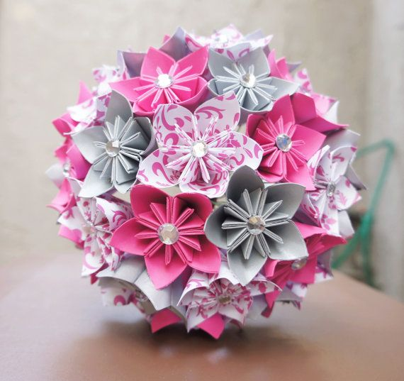 Custom Wedding Kusudama Origami Paper Flower Package - Bouquets, Bridesmaid Bouquet- Pink, silver, black on Etsy, $180.00