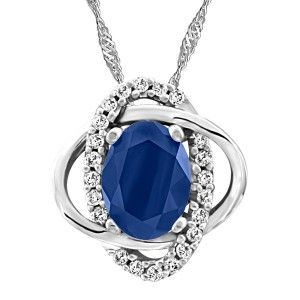 10KT White gold 0.13 ctw diamond and sapphire pendant, chain included. PEN-GEM-1925