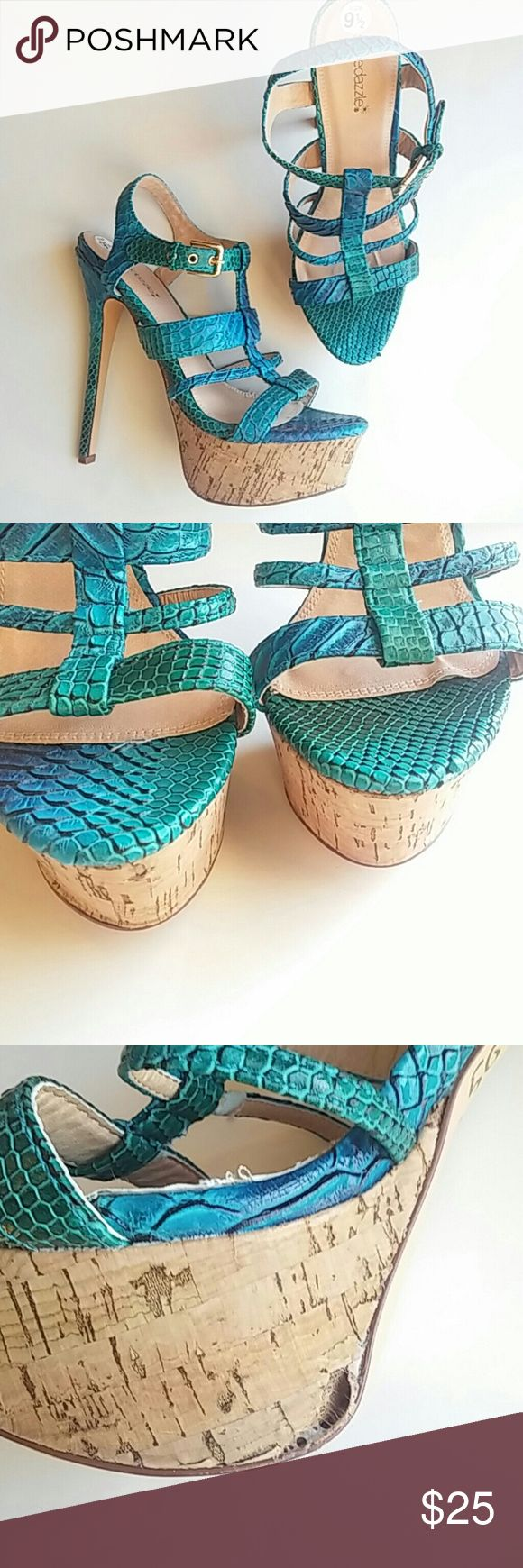 "🌟New Listing🌟Shoe Dazzle mermaid heels(sz 9 1/2) Shoe Dazzle mermaid heels! Like new with one flaw on the cork covering (see pic) heel is 5"" Shoe Dazzle Shoes Heels"