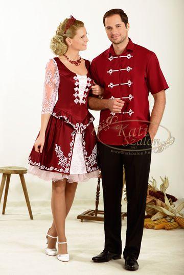 161-es magyaros menyecske ruha, F32-es vitézkötéssel készült férfi ing