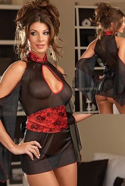 Black And Red Strapless Mesh Babydoll 15.41$