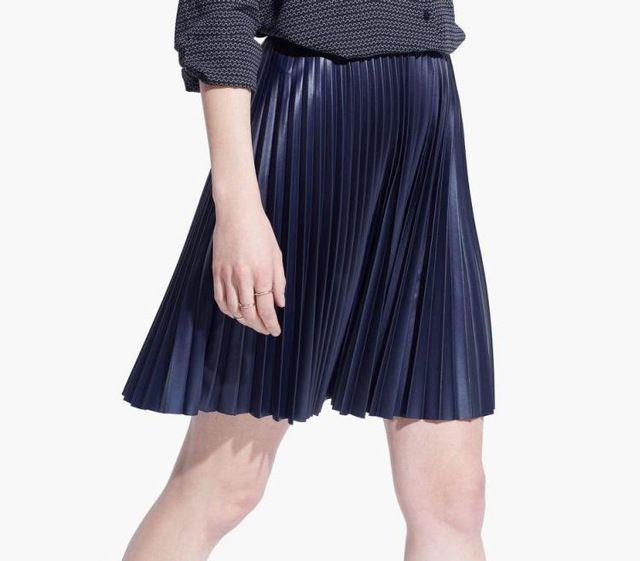 Novo inverno PU saia de couro plissada saia curta de alta qualidade PU vinho vermelho azul marinho cor saia plissada para as mulheres senhora sexy fit