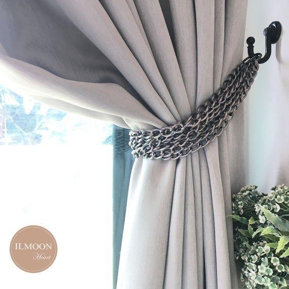Chain Curtain Tie Backs Black Curtain Ties Farmhouse Black