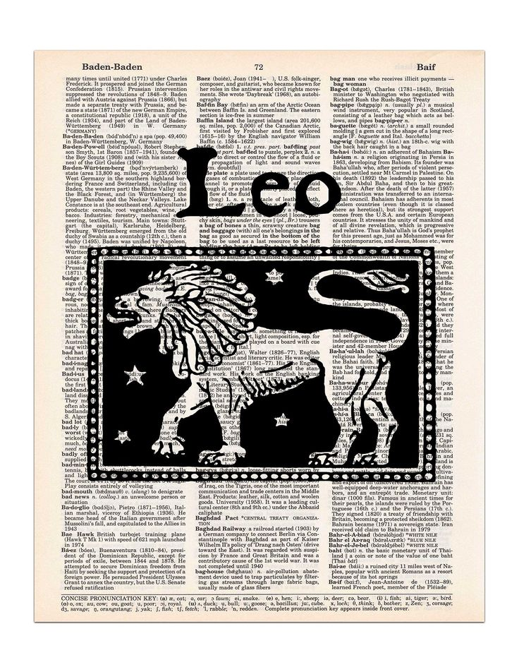 """Leo, Vintage Astrology, Dictionary Page Art Print, 8x11 UNFRAMED. This vintage image of the Leo lion is printed on an upcycled vintage dictionary page, and trimmed to approximately 8"""" x 11"""". It makes a great gift for that Leo in your life with a birthday between July 23 and August 22. Great for astrology lovers and horoscope readers. Features: * Size = 8"""" x 11"""" (approximately). * We recommend using an 11""""x14"""" or larger frame with a mat that has an 8""""x10"""" opening. * Pages come from real..."""