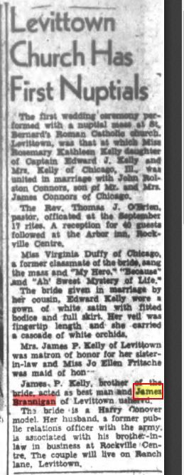 Levittown 1949, Laura's father James H. was the ushered of this wedding. They never lived in Brewster, whatever internet says.