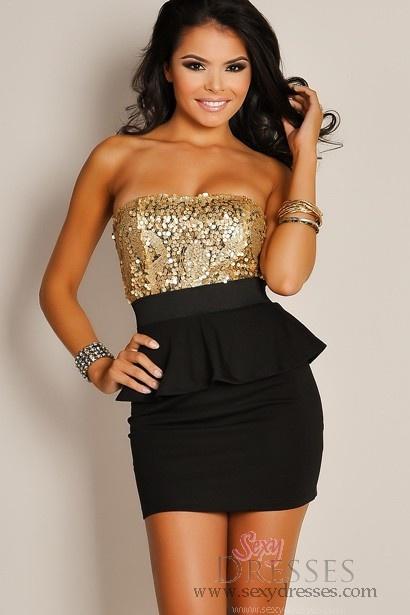 In Vogue Bronze Sequin Black Peplum Dress