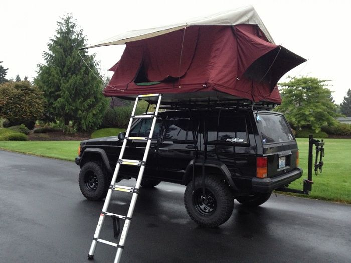 Jeep Cherokee XJ tent | buddies rooftop tent he just picked up cascadia vehicle tents cvt used ...