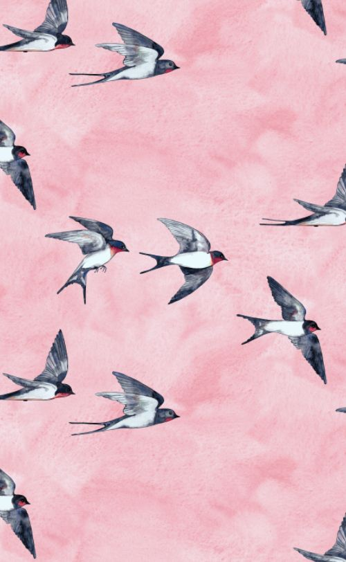 Pink swallow flight pattern, watercolor, by Micklyn