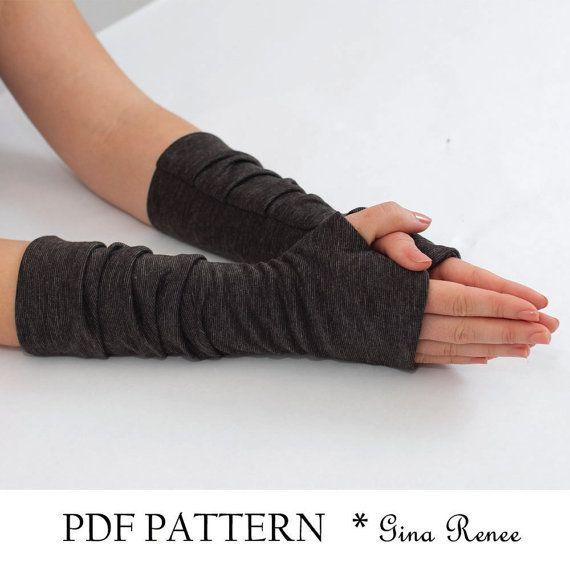 Fingerless Gloves Pattern with Pleats. PDF Glove Sewing Pattern