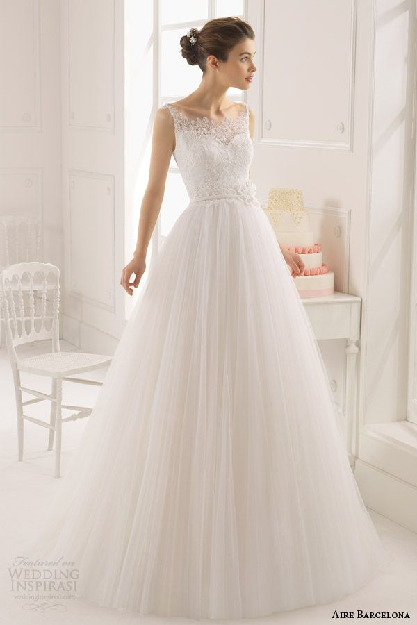 Aire Barcelona Wedding Dresses 2015 | Wedding Inspirasi. Wedding Dresses - tulle ball gown with sweetheart neckline and illusion