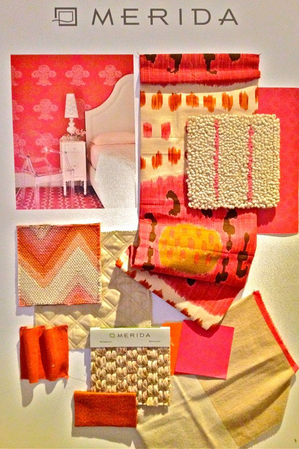 Merida - Inspiration board using Celerie Kemble in the coral coloration & Brunswig & Fils fabrics from their new Les Alizes collection.: Color Schemes, Design Ideas, Inspiration Boards, Fil Fabrics, Color Boards, Design Style, Inspiration Color, Merida Carpets Rugs, Coral Color