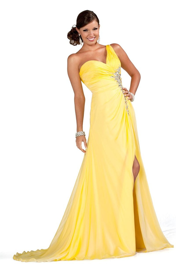 One Strap Yellow Prom Dresses