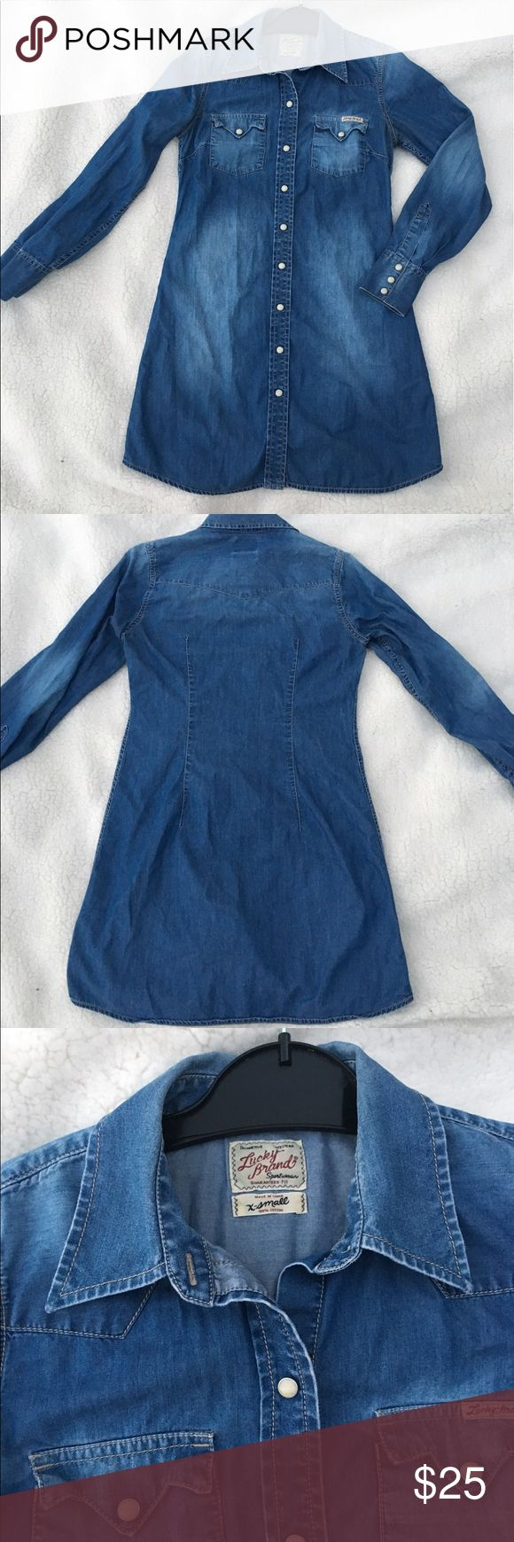 Lucky Brand Denim Dress XS, 100% cotton Lucky Brand Denim Long Sleeve Dress Size XS, western sportswear 100% cotton  Designer/Label - Lucky Brand  Size Type - Regular  Size - XS Style - Dress  Pattern - n.a Condition - Pre-Owned, EUC Material - 100% Cotton Origin - China  Sleeve Style - Long Sleeve Occasion - Casual, Cocktail, western, so versatile!  Lined - No  Wash - Machine Washable Or Dry Clean Lucky Brand Dresses Long Sleeve