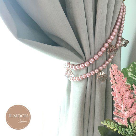 Doubled Shabby Chic Pearl Curtain Tiebacks Pearl Tiebacks