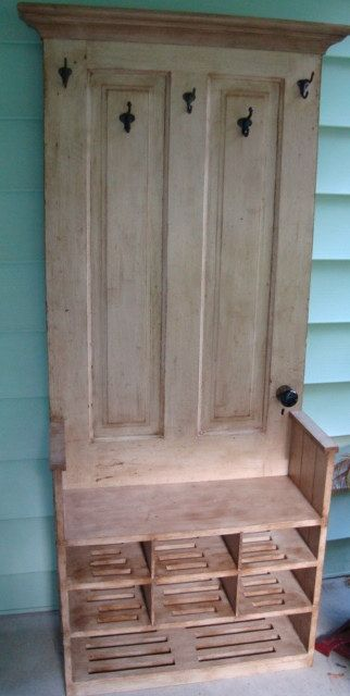 Tall Hall Tree wooden bench with shelves Antique by treesurgeon