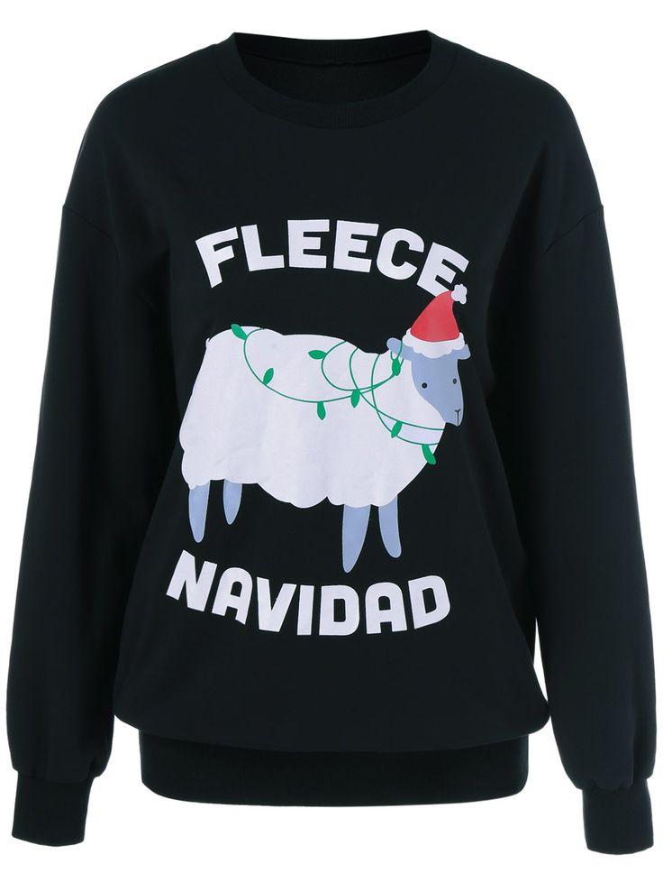 Only $11.81 for Fleece Navidad Printing Sweatshirt in Black | Sammydress.com