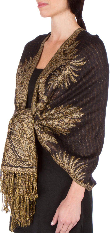 """70"""" x 28"""" Big Paisley Jacquard Double Layer Woven Viscose Pashmina Shawl / Wrap / Stole - Black: Amazon.co.uk: Clothing"""
