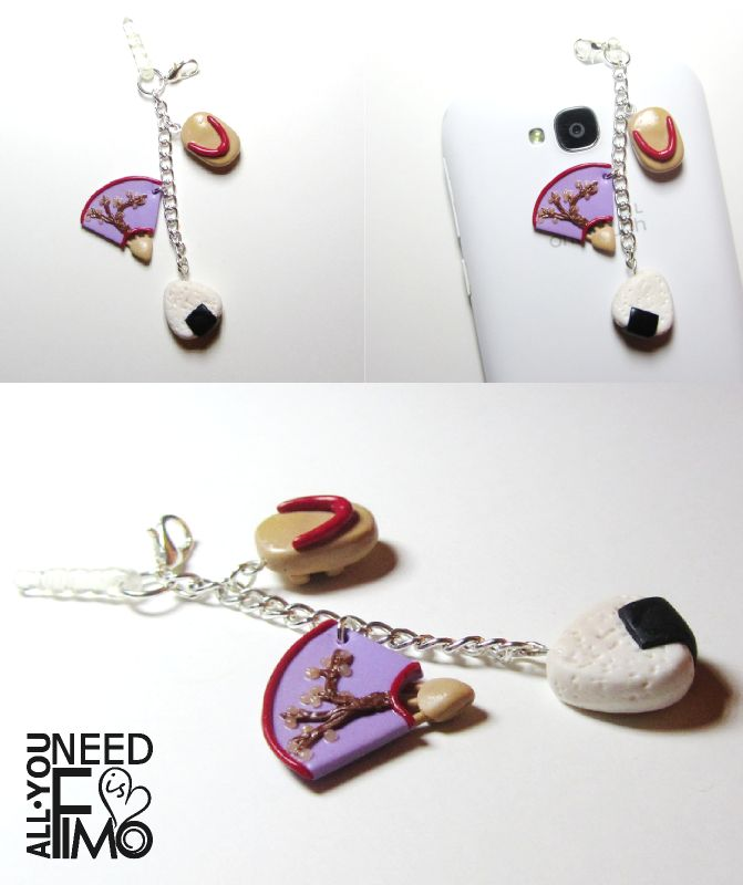 Stopper with Japanese inspired charms, made for a special person :) Fb: https://www.facebook.com/AllYouNeedIsFimo/photos/a.937250929688782.1073741828.932013750212500/1211170765630129/?type=3&theater  #fimo #polymerclay #artigianato #handmade #charms #pendants #smartphone #cellphone #stopper #japan #antidust #dustproofplug #jack #earphones #plugs #japan #japanese #sushi #onigiri #geta #shoes #japaneseshoes #zoccoli #clogs #ventaglio #fans #japanesefan #sakura #cherrytree #sakuratree