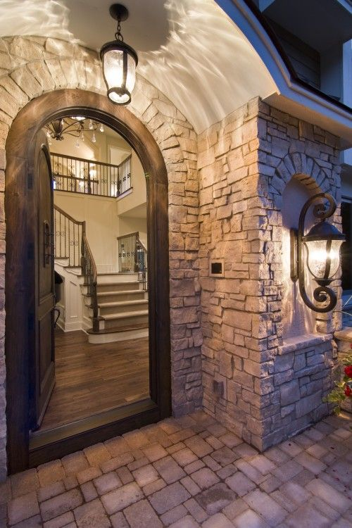 Arched and stone entryways :): The Doors, Ideas, Lights Fixtures, Dreams, Country Home, Front Doors, French Country, House, Stones
