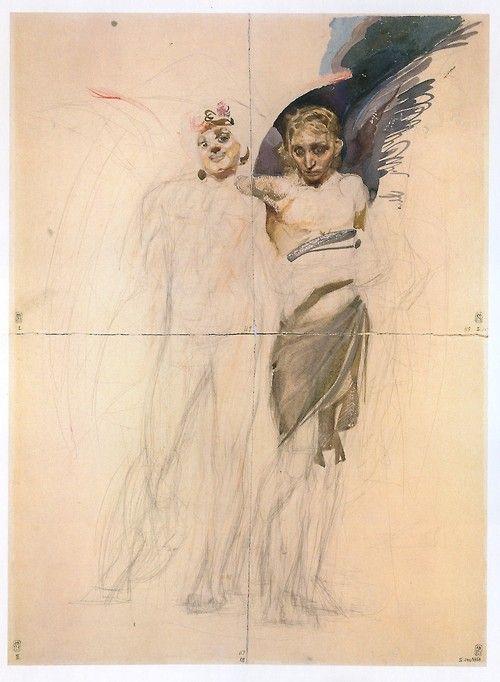 drakontomalloi:  Михаил Врубель - Любовь и голод (неоконченная композиция). 1883