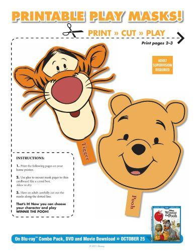 DIY Printable Winnie the Pooh & Tigger Masks (SO Easy to Print and So Easy to make.) Went Great with The Winnie The Pooh Party I Hosted For a Friend.