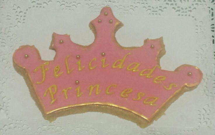 Galleta grande en forma de Corona, para despertar a su Princesa el dia de su Cumpleaños!