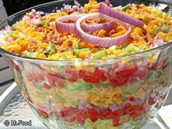 Chilled Stacked Salad - I had forgotten about this dish.  Haven't made it in ages.  It's always a party favorite.  This recipe uses corn instead of peas which I think I'd like much better.