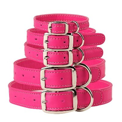 Pinky Pink Leather Dog Collars