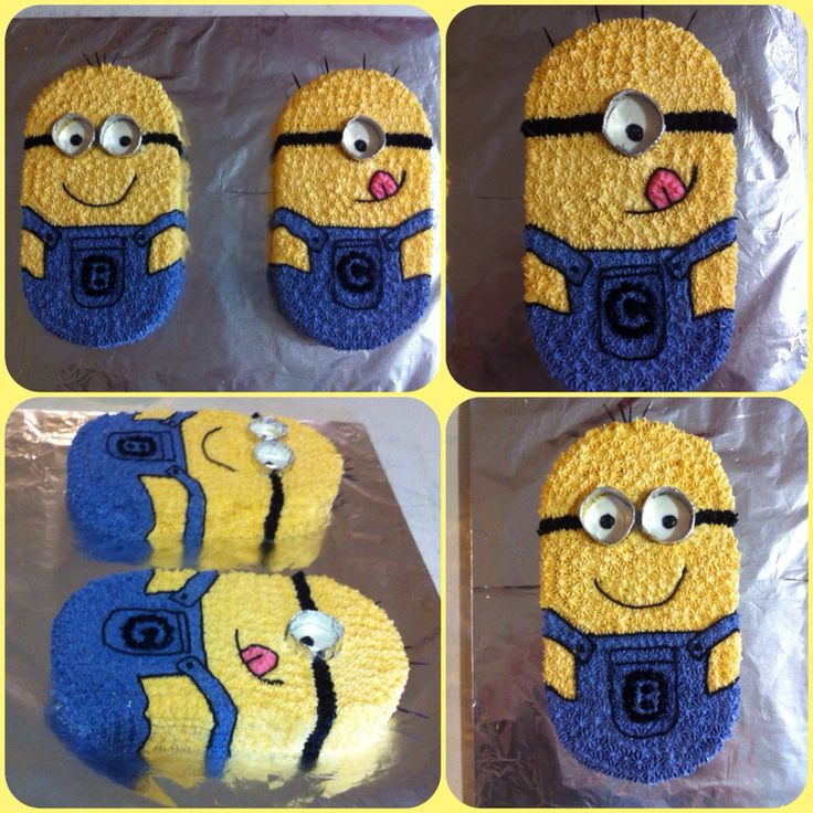 "Minion cake - Kept searching for just the right minion cakes to make for my twin boys 2nd birthday... Never could find just the right one so this is what I came up with on my own... I used an 8"" round and an 8"" square cake pan for each minion cut the round in half and put against the square as the top of the head and bottom and they turned out the perfect size!"