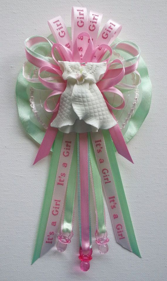 Captivating Baby Shower Mommy Corsage In Pink And Green With Baby Dress Centerpiece By  Fancy Little Favors