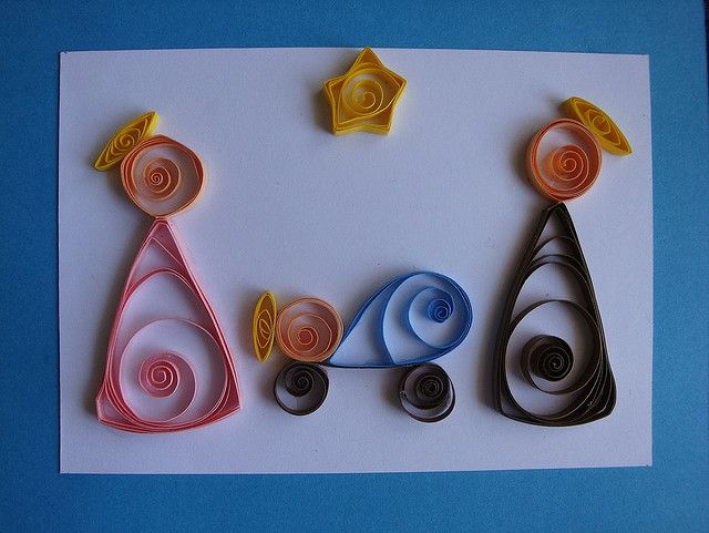 quilled Nativity Christmas card...Hoping for my mother to make some for us this Christmas.....