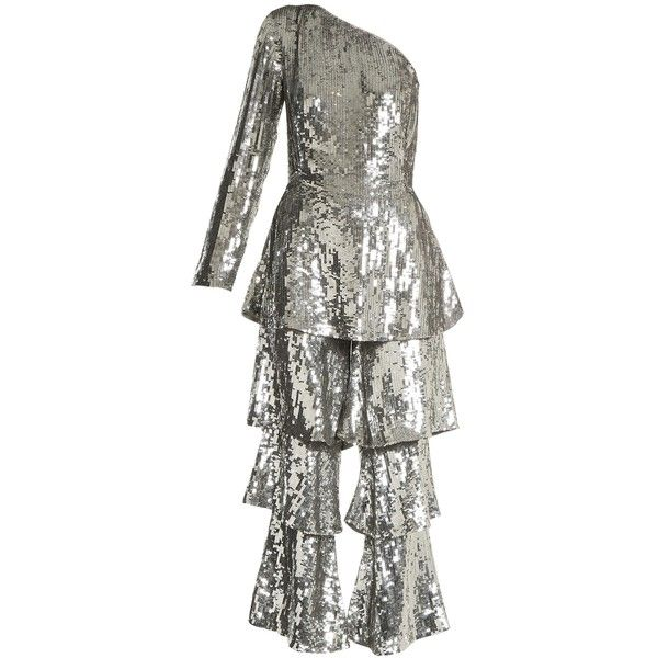Osman Labelle sequin-embellished tiered-panel jumpsuit ($2,380) ❤ liked on Polyvore featuring jumpsuits, silver, flared jumpsuit, silver sequin jumpsuit, white jump suit, white jumpsuits and jump suit