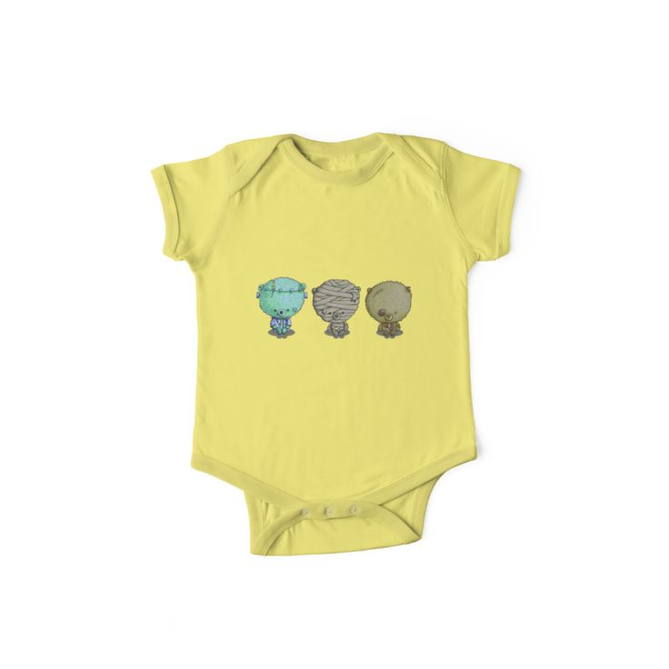 """""""3 Little Monsters"""" by I Love the Quirky - One Piece Short Sleeved. Also available in lone sleeved. illustration of zombie bear, mummy bear and Frankented"""