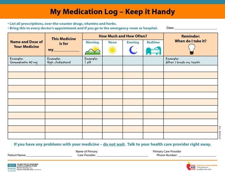 medicine picture schedule | My Medication Log - Keep it Handy