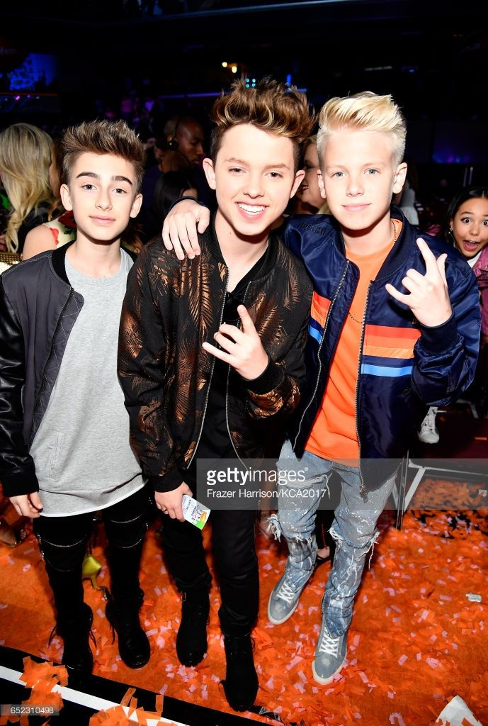 Singers Johnny Orlando, Jacob Sartorius and Carson Lueders at Nickelodeon's 2017 Kids' Choice Awards at USC Galen Center on March 11, 2017 in Los Angeles, California.