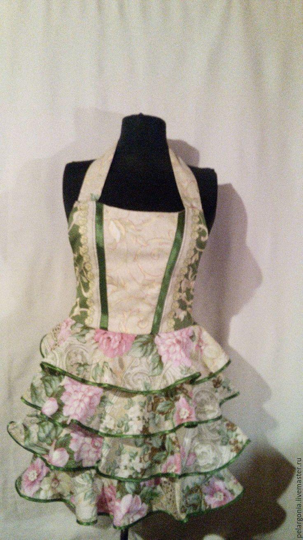 """Купить Фартук женский с воланами """"Розы в саду""""(корсет, юбка с оборками) - женский фартук, подарок женщине"""