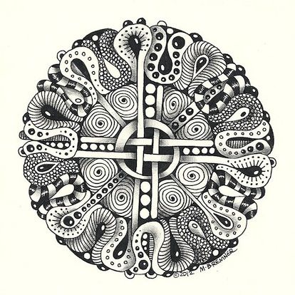 Zentangle Mandala | Enthusiastic Artist: Circular tangles as mandala centers