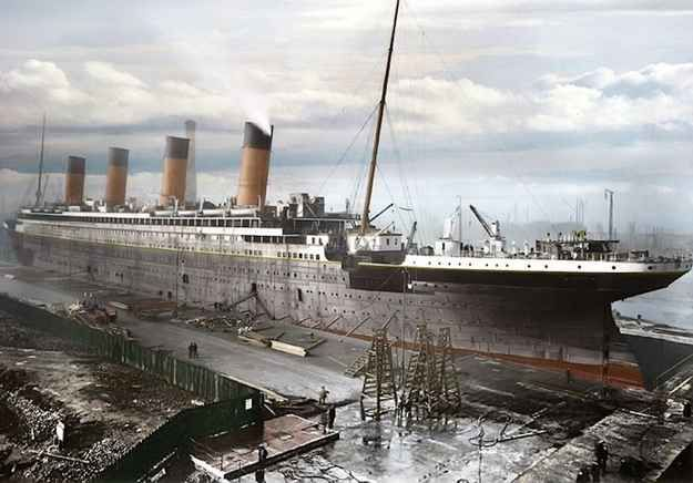 Titanic under construction. She was built by Harland & Wolff at their shipyard on Queen's Island in Belfast, Ireland.