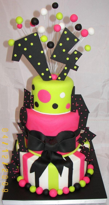 whimsical 14th birthday cake...kinda retro. Love the numbers on top!