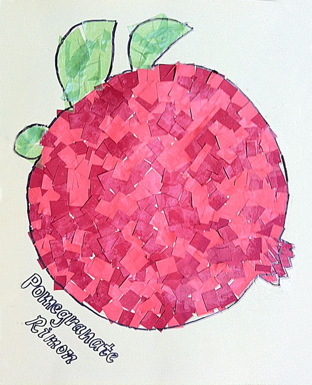 Paper Mosaic Kid's Collage Pomegranate for Sukkot activity/decor, The kids would love this!!!