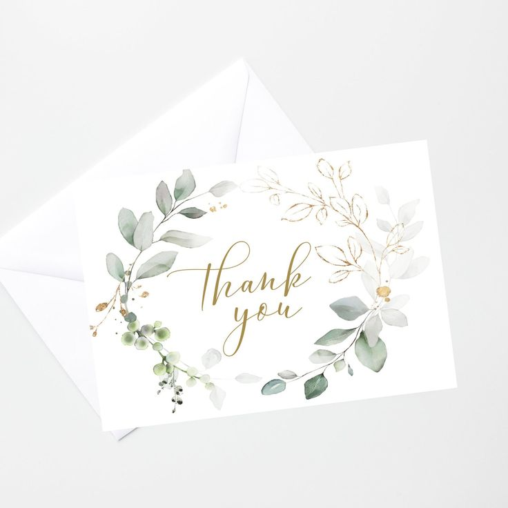 Baptism Thank You Card Template, Printable Greenery Gold ...