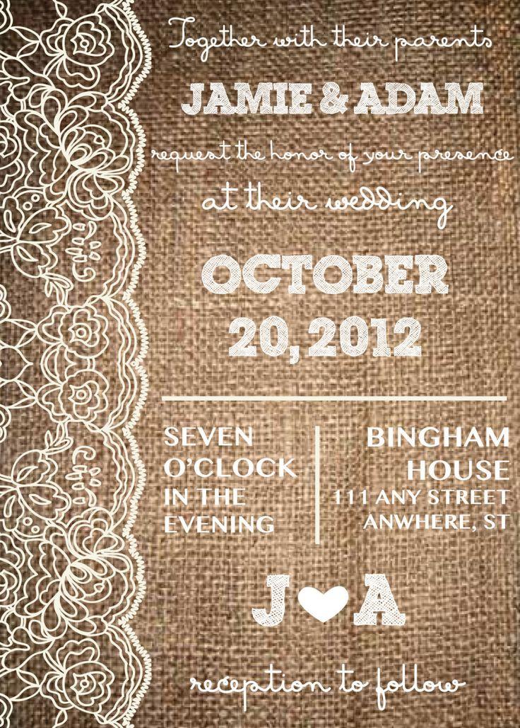 Lace & Burlap, Rustic Wedding Invitation-- Engagement Invite-- Bridal Shower Invite. $25.00, via Etsy.