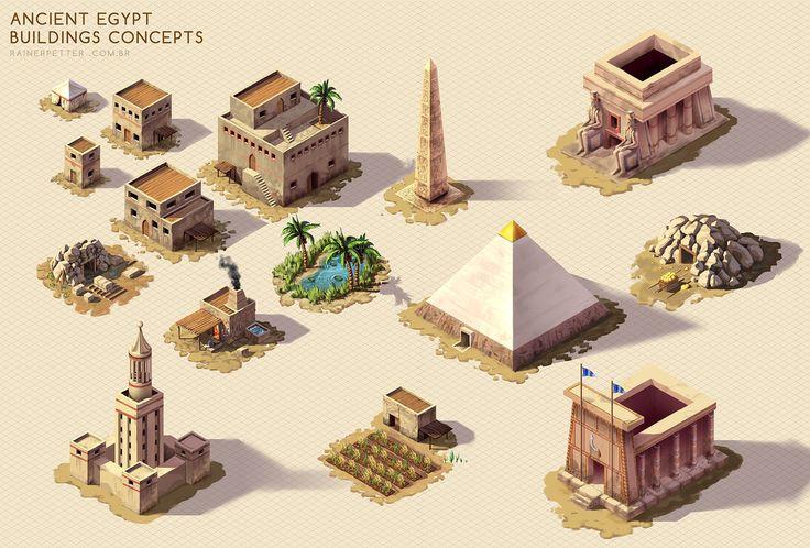 Ancient Egypt - Buildings concepts by rainerpetterart on DeviantArt