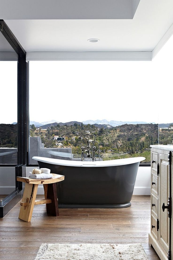Open bathroom designs - Gorgeous Open Bathroom For Those Who Are Happy With A View Of Hollywood Hills