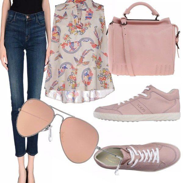 Outfit comodo e leggero, ideale per le giornate miti di primavera o inizio estate, pochi dettagli che fanno essere una donna cool con grande semplicità.