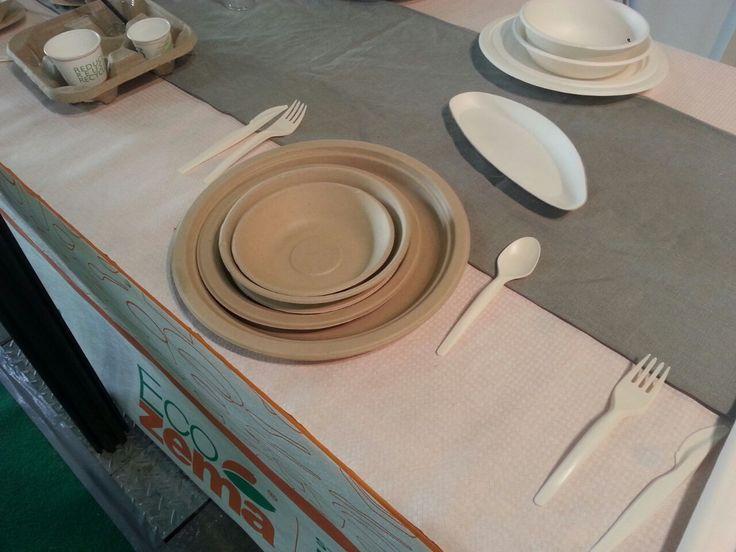 Gruppo di piatti in polpa di cellulosa e posate in MaterBi